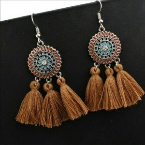 Bohemian Tassel Dreamcatcher Fringe Earrings Mocha